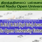 TNOU B.Ed / B.Ed (Spl Edu) Answer Key 2018 – Tamil Nadu Open University BED Key